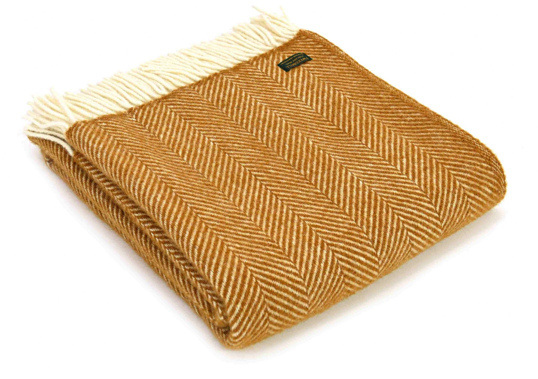Fishbone English Mustard Wool Blanket Throw