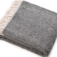 Herringbone Silver & Charcoal Wool Blanket / Throw